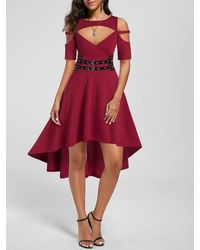 Rosegal Cold Shoulder High Low Cut Out Gothic Dress - Red