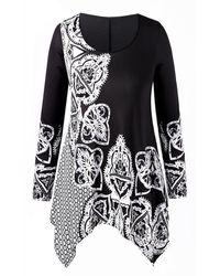 Rosegal Asymmetrical Printed Plus Size T-shirt - Black