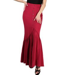Rosegal French Bazaar Button High Waisted Long Pleated Skirt - Red