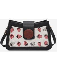 Rosegal Strawberry Print Round Button Shoulder Bag - Black