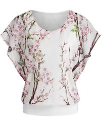 Rosegal - Batwing Sleeve Floral Print Chiffon Blouse - Lyst