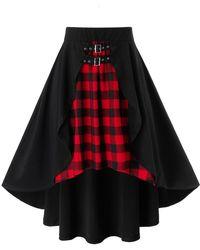 Rosegal Plus Size Plaid High Low Overlap Grommet Buckle Skirt - Black