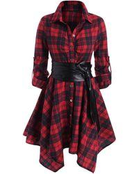 Rosegal Plaid Belted Roll Tab Sleeve Handkerchief Dress - Red