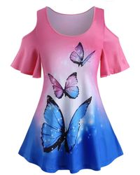 Rosegal Plus Size Ombre Butterfly Print Cold Shoulder T Shirt - Pink