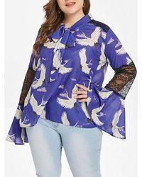 Rosegal Flare Sleeve Birds Print Plus Size Blouse - Purple