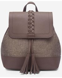 Rosegal Tassel Braided Two Tone Travel Backpack - Brown