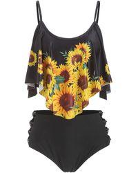 Rosegal Sunflower Flounce Lattice Tankini Swimsuit - Black