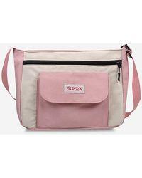 Rosegal Casual Letter Colorblock Crossbody Bag - Pink