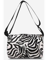 Rosegal Zebra Print Canvas Crossbody Bag - Black
