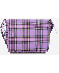 Rosegal Drawstring Strap Plaid Printed Shoulder Bag - Purple
