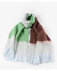 Rosegal Faux Cashmere Colorblock Fringe Long Scarf - Green