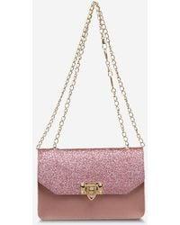 Rosegal Glitter Rectangle Crossbody Chain Bag - Pink