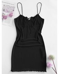 Rosegal - Plus Size Ribbed Tie Ruched Slinky Cami Dress - Lyst