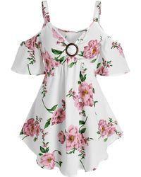 Rosegal Floral Print O Ring Cold Shoulder Blouse - White