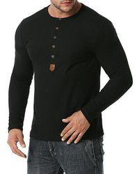 Rosegal Jacquard Button Round Collar Long Sleeve T Shirt - Black