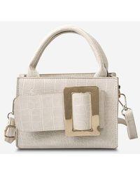 Rosegal Solid Embossed Buckle Shoulder Bag - White