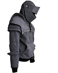Rosegal Solid Color Men S Retro Drawstring Knight Sweater - Gray