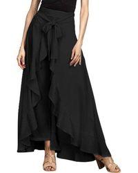 Rosegal Ruffle Waist Tie Skirt Pants - Black