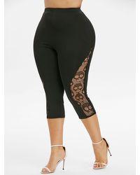 Rosegal Plus Size Skull Lace Capri Leggings - Black