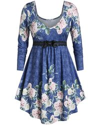 Rosegal - Plus Size Floral Print Empire Waist T-shirt - Lyst