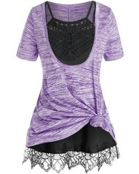 Rosegal Plus Size Front Knot Marled Tee And Cami Top Set - Purple