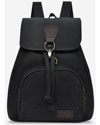 Rosegal Canvas Drawstring Large Capacity Backpack - Black