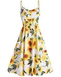 Rosegal Plus Size Sunflower Print Cami Dress - White