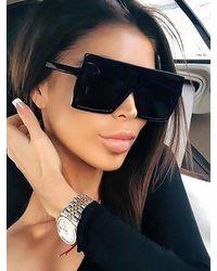 Rosegal Oversize Flat Top Square Frame Sunglasses - Black