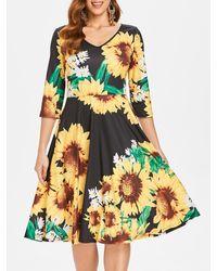 Rosegal Sunflower Print Pin Up Dress - Black