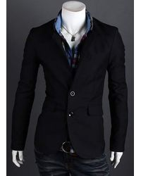 Rosegal Fashion Style Personality Color Block Lapel Slimming Long Sleeves Men S Cotton Blend Blazer - Black