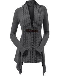 Rosegal Cable Knit Asymmetrical Long Cardigan - Gray