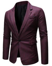 Rosegal Grid Print One Button Side Slit Blazer - Multicolor