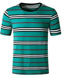 Rosegal Striped Print Short Sleeves T Shirt - Blue