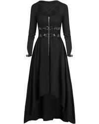 Rosegal Plus Size Buckle Zippered High Low Gothic Halloween Maxi Dress - Black