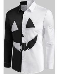 Rosegal Two Tone Pumpkin Graphic Halloween Long Sleeve Shirt - Black