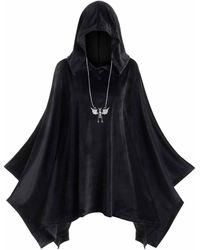 Rosegal Plus Size Hooded Velvet Poncho - Black