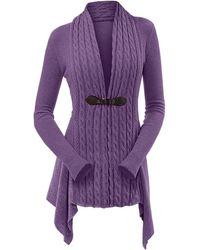 Rosegal Cable Knit Asymmetrical Long Cardigan - Purple