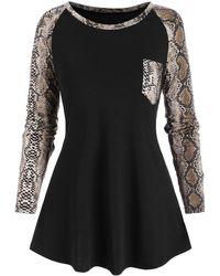 Rosegal Raglan Sleeve Snake Print Pocket T-shirt - Black