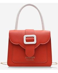 Rosegal Colorblock Chain Square Cover Crossbody Bag - Red