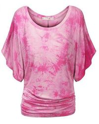 Rosegal Plus Size Tie Dye Ruched Batwing Sleeve Top - Pink