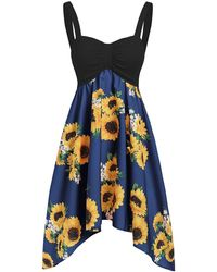 Rosegal Asymmetric Sunflower Ruched Casual Dress - Blue