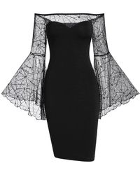 Rosegal Gothic Off The Shoulder See Thru Bodycon Halloween Dress - Black