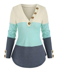 Rosegal - Buttons Colorblock V Neck Knitwear - Lyst