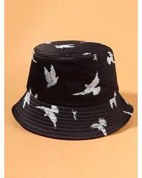 Rosegal Casual Pigeon Print Bucket Hat - Black