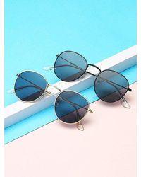 Rosegal Metal Anti Uv Circular Sunglasses - Metallic