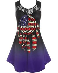 Rosegal - Plus Size Lace Panel American Flag Print Tank Top - Lyst