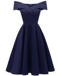 Rosegal Off The Shoulder Foldover Cocktail Dress - Blue