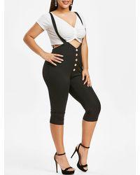 Rosegal Plus Size Mock Button Capri Suspender Pants - Black