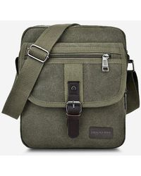 Rosegal Retro Canvas Wear Resistant Messenger Bag - Green