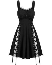 Rosegal Lace Panel Sleeveless Lace-up Gothic Dress - Black